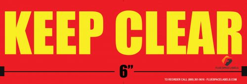 6x2 Red Background with Yellow Fonts Flue Space Labels