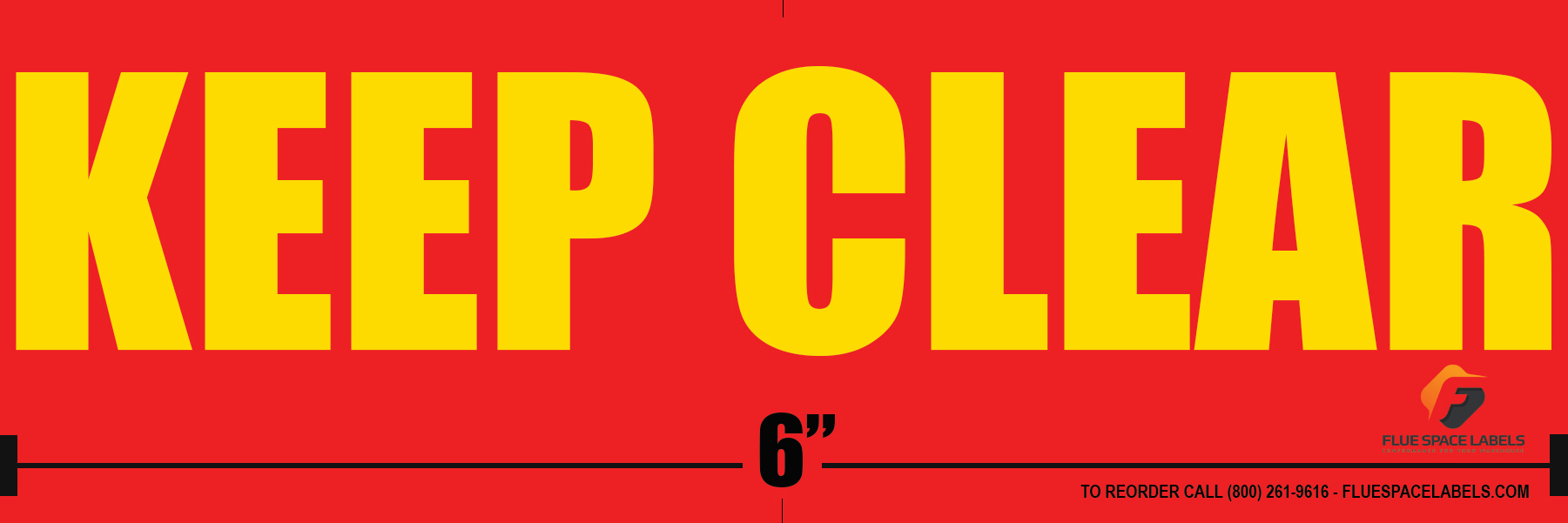 Red Background with Yellow Fonts Flue Space Labels