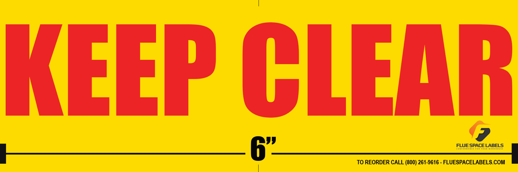 Yellow Back Ground with Red Fonts Flue Space Labels 6x2